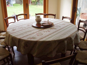 Wonderful We Joined Two Pieces Of Auriol Pique Fabric To Make This Large Round  Tablecloths. A Runner Covers The Join On The Reverse Of The Cloth (red ...