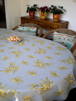 provencal tablecloth with olives