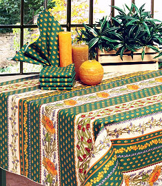 Garden green cotton tablecloth Provencal design