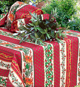 French provencal red tablecloth with sunflower design