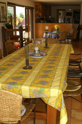 yellow provence tablecloth with lavender