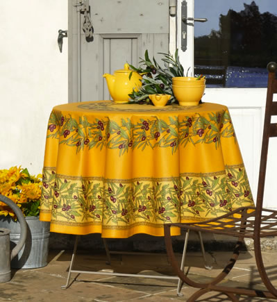 Olive Design Teflon Coated Round French Tablecloth ...