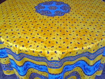 Olive Design Teflon Coated Round French Tablecloth, Yellow Coated Or Cotton  70in Round Cloth