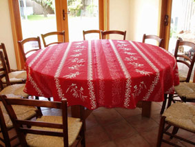 reversible tablecloth with olives design