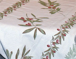 french tablecloth with olive design