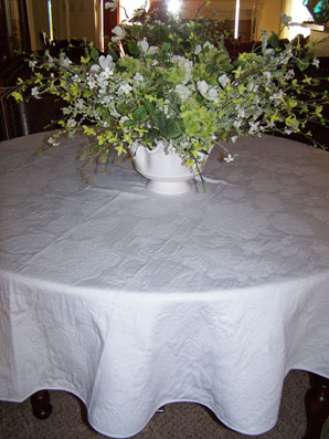 large round boutis quilted tablecloth