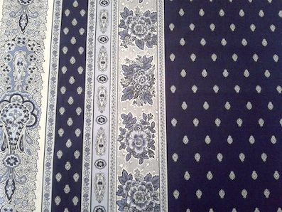 provencal fabric with blue and white design