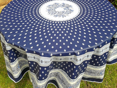 Blue And White Large Round Oilcloth