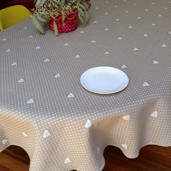 Pique quilted reversible French tablecloth with bees design in beige colour