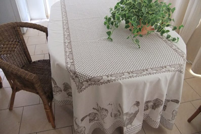 French Country Matelasse Tablecloth With Chickens And Ducks Designs