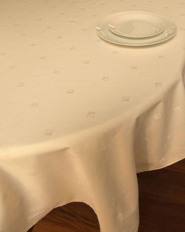 French Damask formal tablecloth in beige colour with modern design