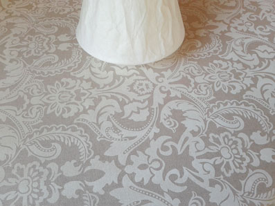 french toile tablecloth beige and white
