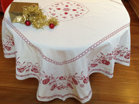 square reversible christmas tablecloth from france