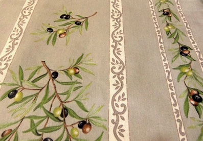 Acrylic coated provencal tablecloth with olive design.