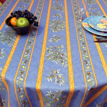 Blue And Yellow Coated Tablecloth From Provence