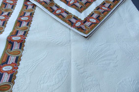 white pique tablecloth with shells design