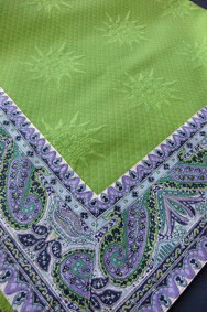 green pique fabric quilted tablecloth