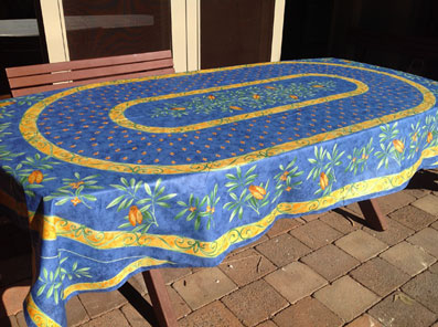 blue provencal tablecloth with olives