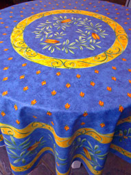 Beautiful Blue And Yellow Large Round Provence Tablecloth With Olives And Cicadas
