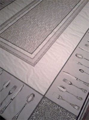 jacquard tablecloth with cutlery design
