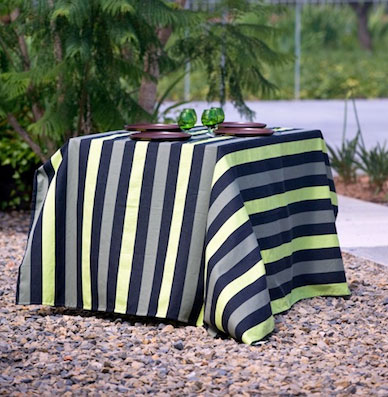 french jacquard tablecloth with pink and black stripes