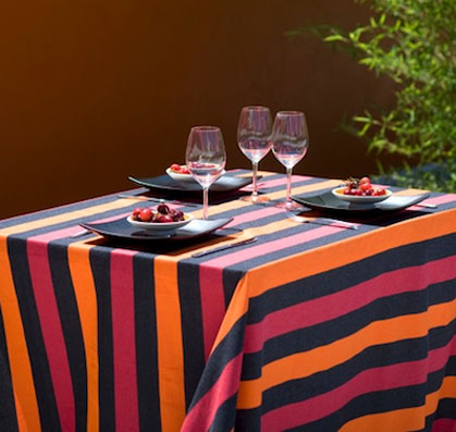 french jacquard tablecloth with green and black stripes