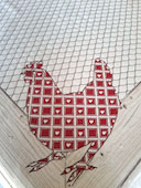 heart design hens tablecloth