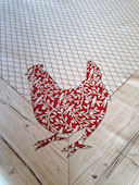 leaves design hens design tablecloth