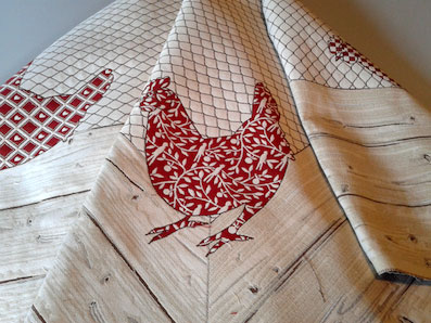 square cloth with hens design