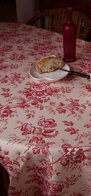 flowers red toile de jouy tablecloth