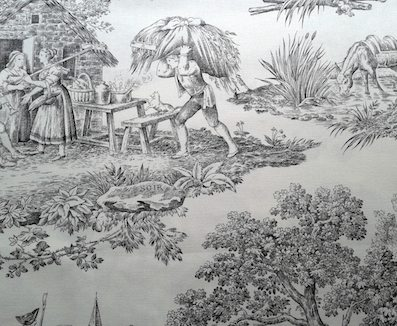 black toile de jouy fabric