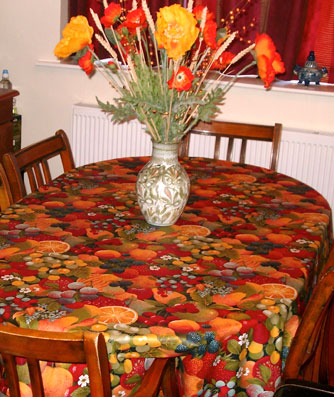 acrylic coated large oval tablecloth