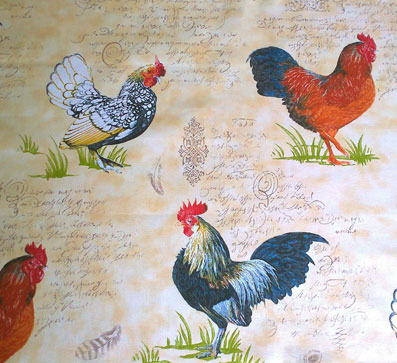 french fabric with roosters and hens