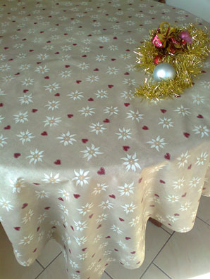 coated Christmas tablecloth
