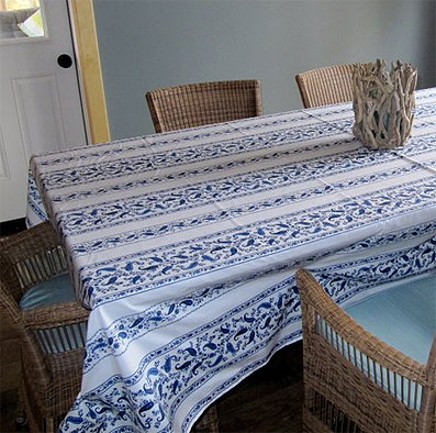 blue and white plastic treated tablecloth with provencal design