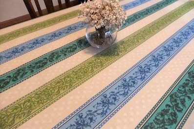 aqua green and blue coated tablecloth