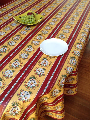 maroon and gold french provincial wipe over tablecloth