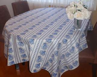 blue and white french tablecloth