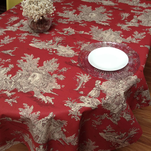 red toile de Jouy tablecloth