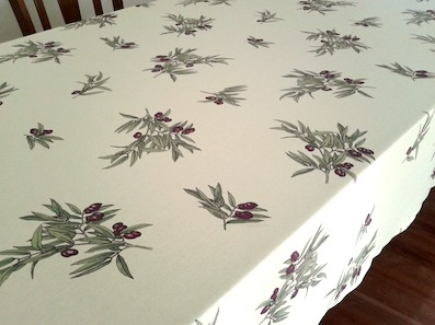 large wipe over tablecloth with olive design