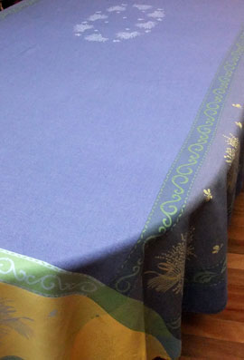blue cotton jacquard 10 seater tablecloth
