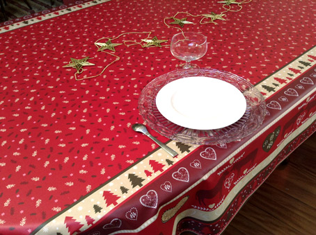 Acrylic coated french Christmas tablecloth