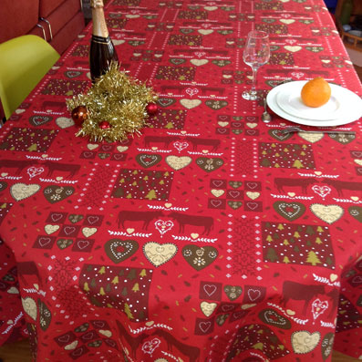 Christmas design tablecloth with fir trees