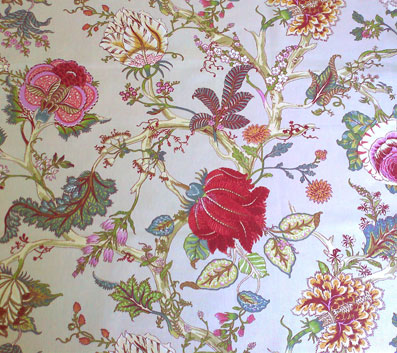 pink and green toile de jouy tablecloth