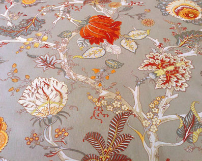 toile fabric with flowers and vines design