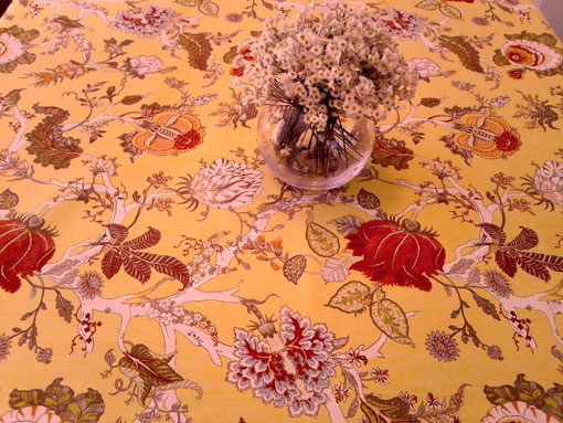 yellow toile de Jouy French cotton fabric