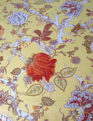toile cotton fabric with flowers and vines design