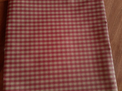 red and linen check coated tablecloth