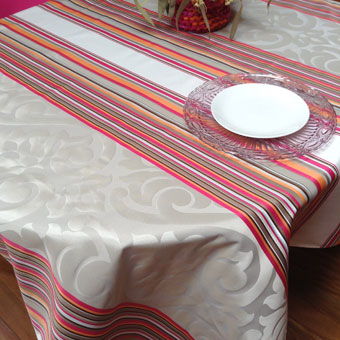 french Jacquard Teflon treate tablecloth with silver designs