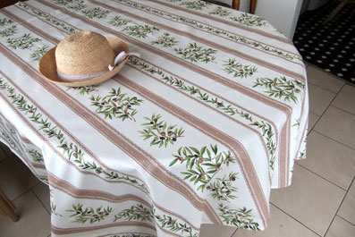 olive design beige tablecloth